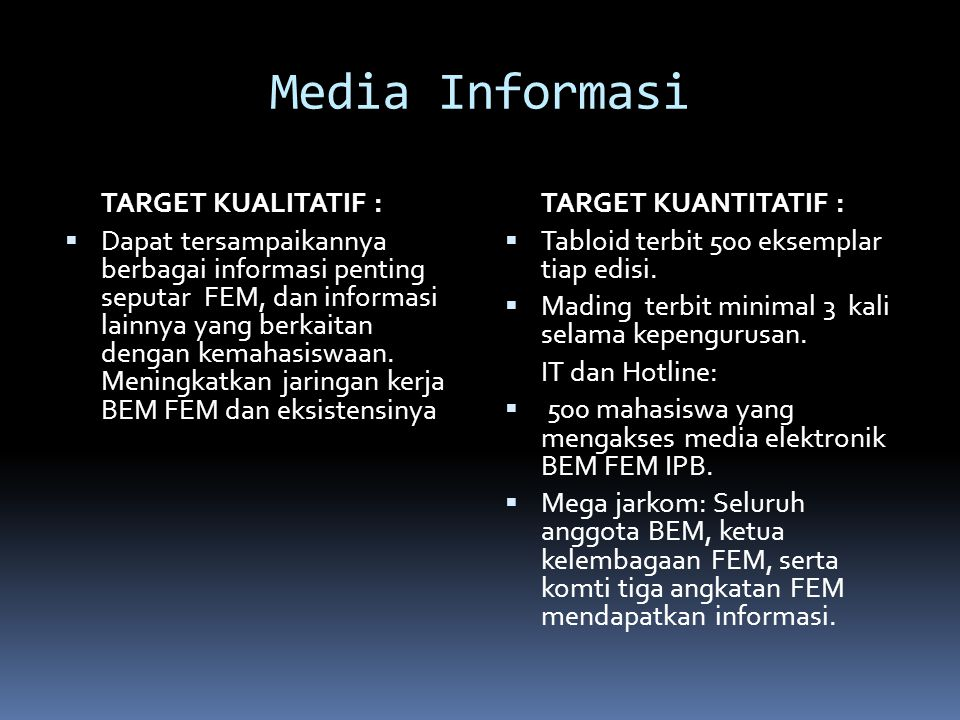 Media Informasi TARGET KUALITATIF :