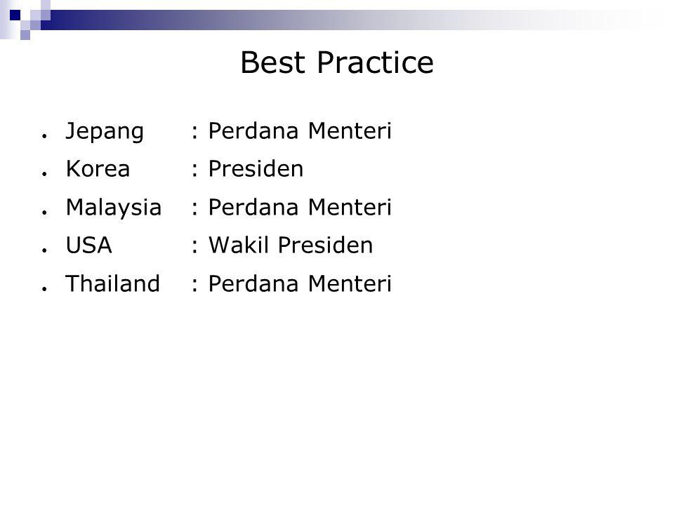 Best Practice Jepang : Perdana Menteri Korea : Presiden
