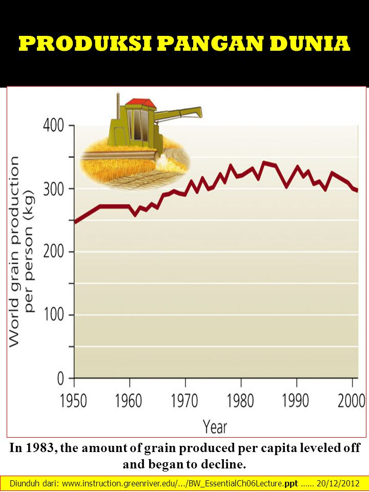PRODUKSI PANGAN DUNIA In 1983, the amount of grain produced per capita leveled off and began to decline.