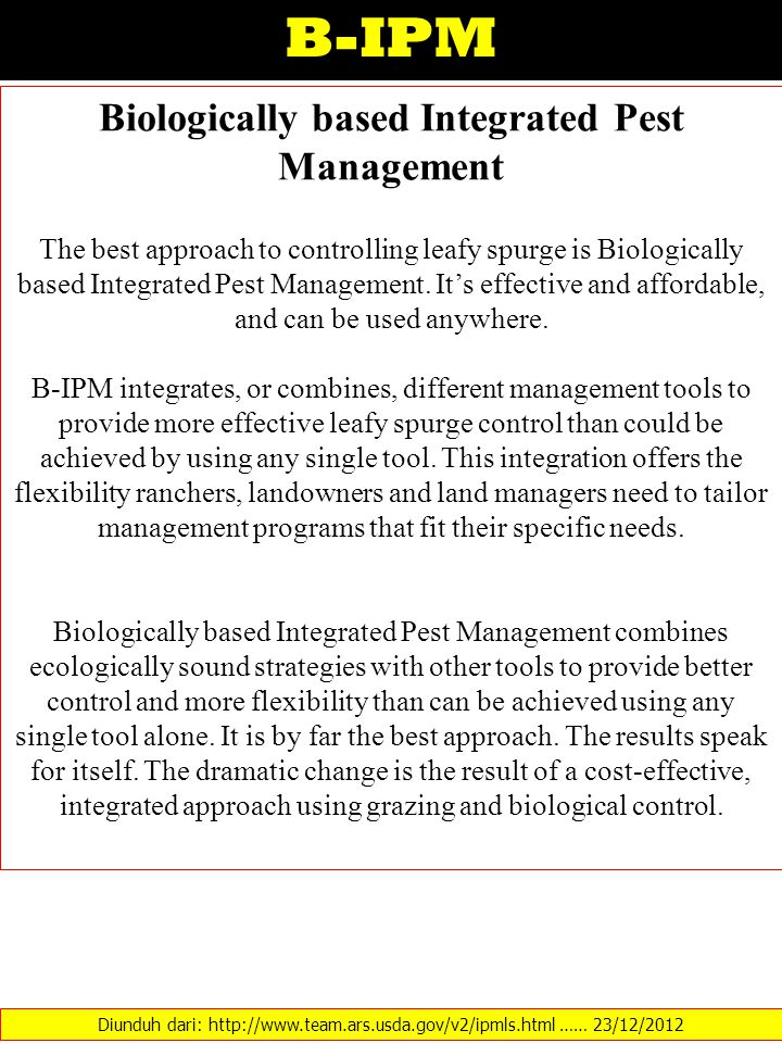 Biologically based Integrated Pest Management