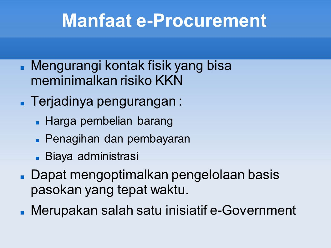 Manfaat e-Procurement