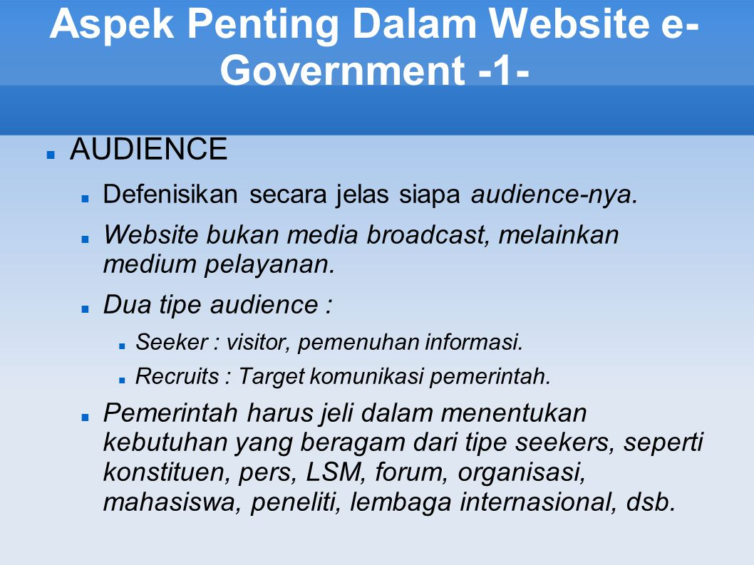 Aspek Penting Dalam Website e-Government -1-