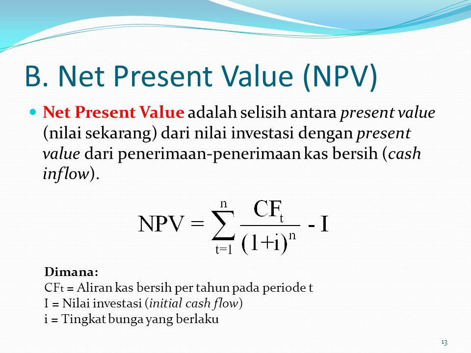 B. Net Present Value (NPV)