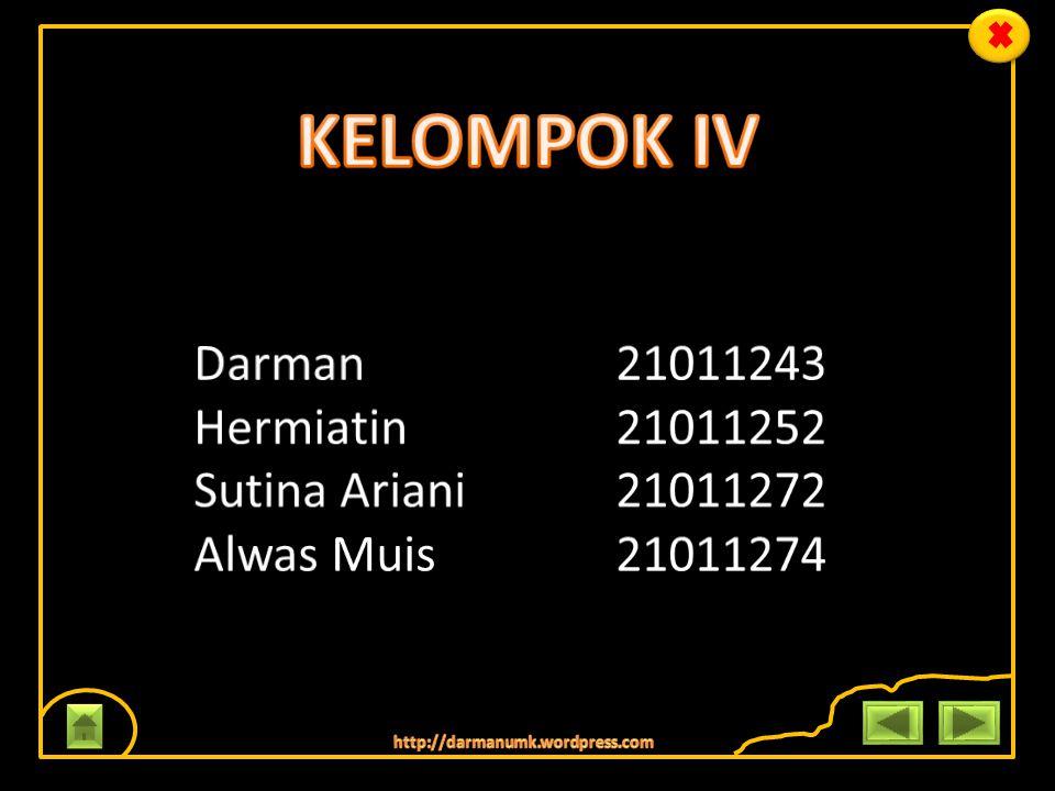 KELOMPOK IV Darman 21011243 Hermiatin 21011252 Sutina Ariani 21011272