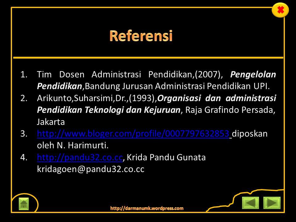 Referensi Tim Dosen Administrasi Pendidikan,(2007), Pengelolan Pendidikan,Bandung Jurusan Administrasi Pendidikan UPI.