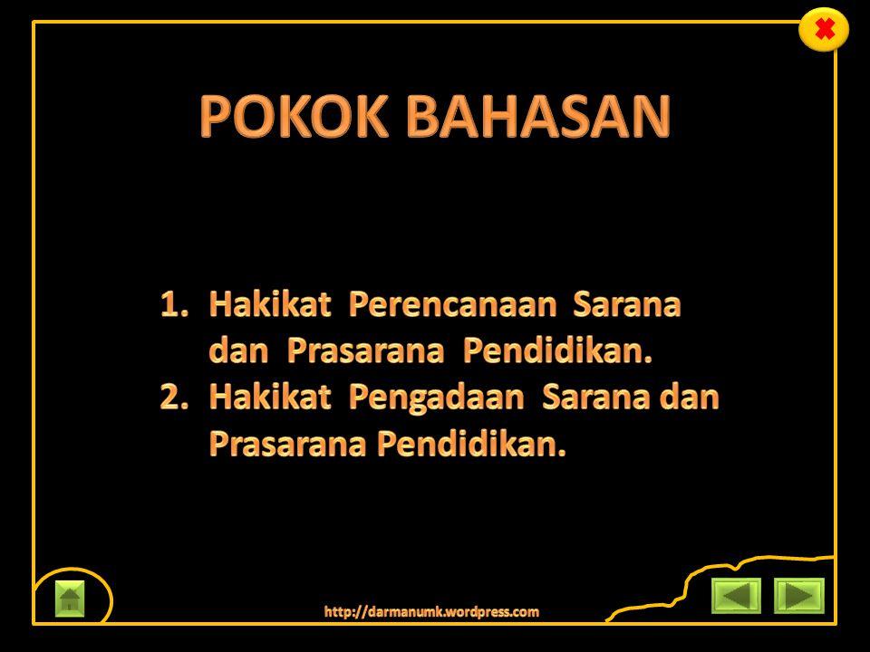 POKOK BAHASAN Hakikat Perencanaan Sarana dan Prasarana Pendidikan.