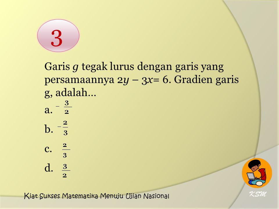 Garis g tegak lurus dengan garis yang persamaannya 2y – 3x= 6