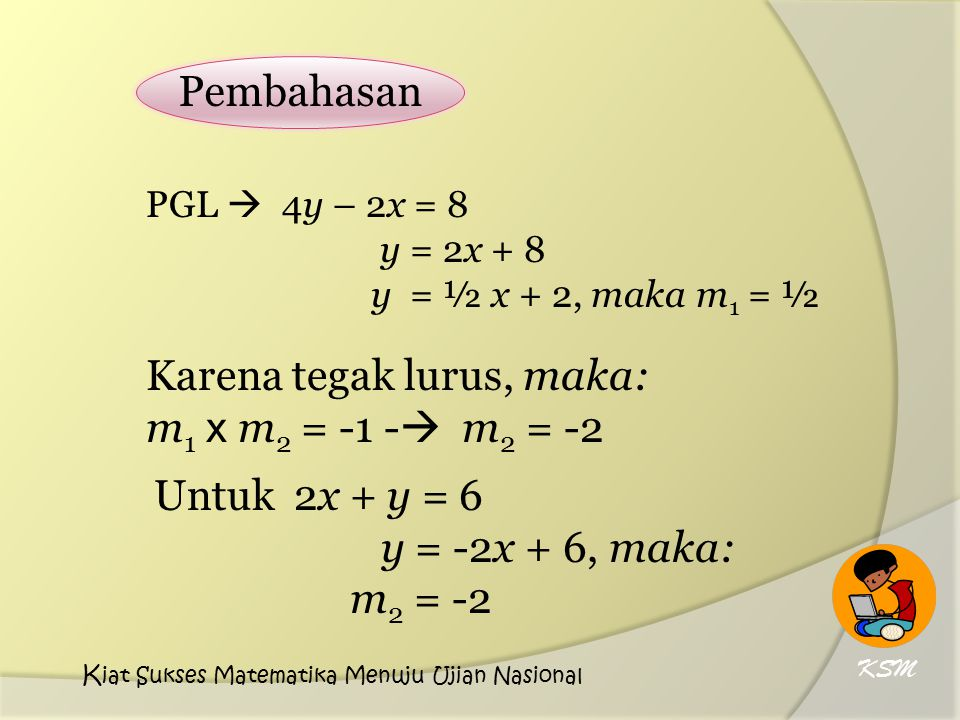 Karena tegak lurus, maka: m1 x m2 = -1 - m2 = -2