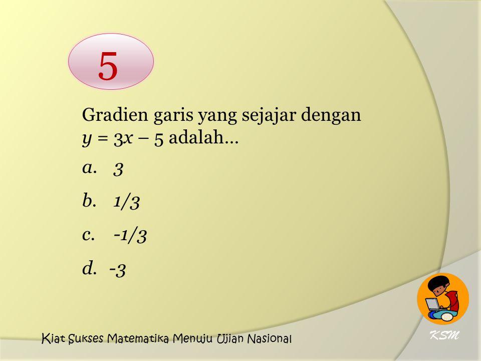 5 Gradien garis yang sejajar dengan y = 3x – 5 adalah… a. 3 b. 1/3