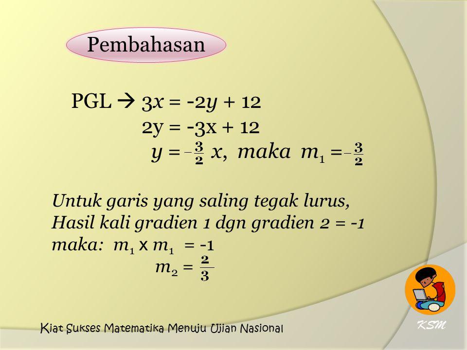 Pembahasan PGL  3x = -2y + 12 2y = -3x + 12 y = x, maka m1 =