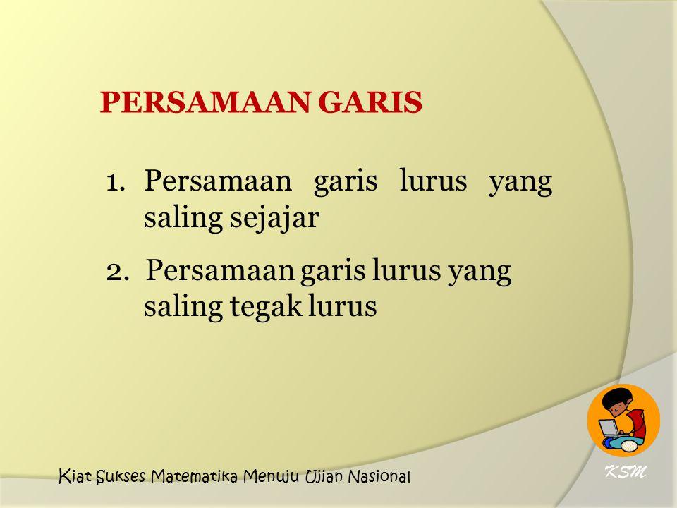 PERSAMAAN GARIS 1. Persamaan garis lurus yang saling sejajar 2. Persamaan garis lurus yang saling tegak lurus