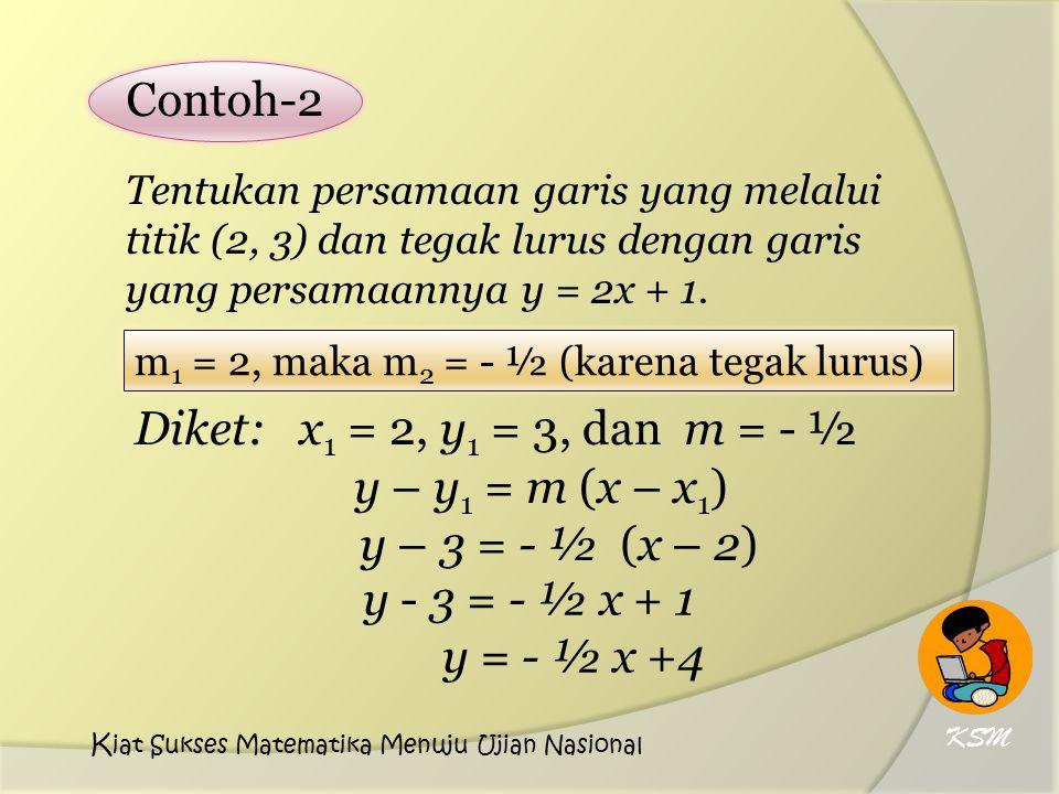 Contoh-2 Diket: x1 = 2, y1 = 3, dan m = - ½ y – y1 = m (x – x1)