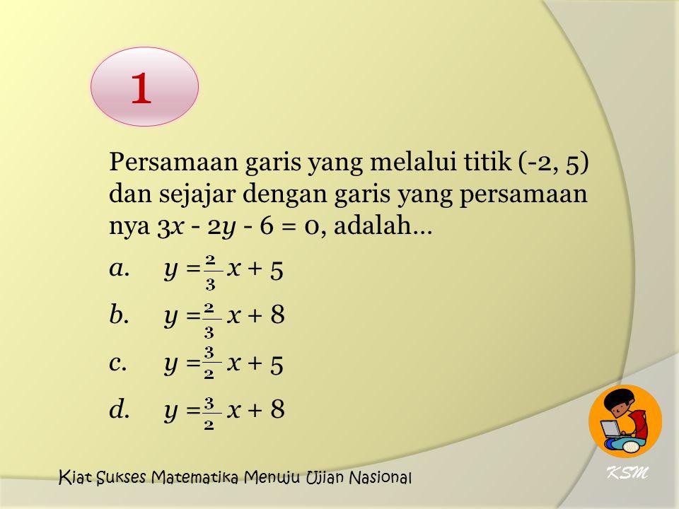 Persamaan garis yang melalui titik (-2, 5) dan sejajar dengan garis yang persamaan nya 3x - 2y - 6 = 0, adalah…