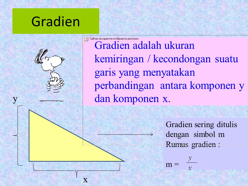 Gradien Gradien adalah ukuran kemiringan / kecondongan suatu garis yang menyatakan perbandingan antara komponen y dan komponen x.