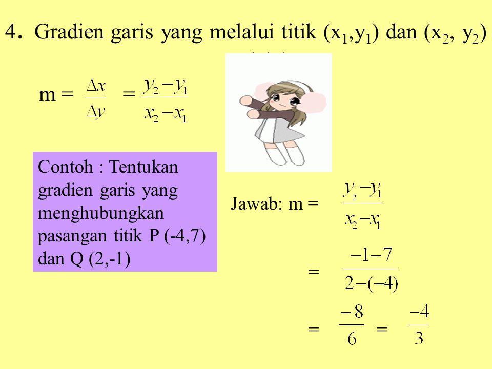 4. Gradien garis yang melalui titik (x1,y1) dan (x2, y2) adalah m = =