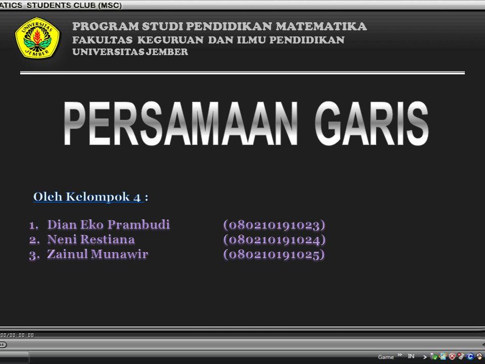 PERSAMAAN GARIS PROGRAM STUDI PENDIDIKAN MATEMATIKA Oleh Kelompok 4 :