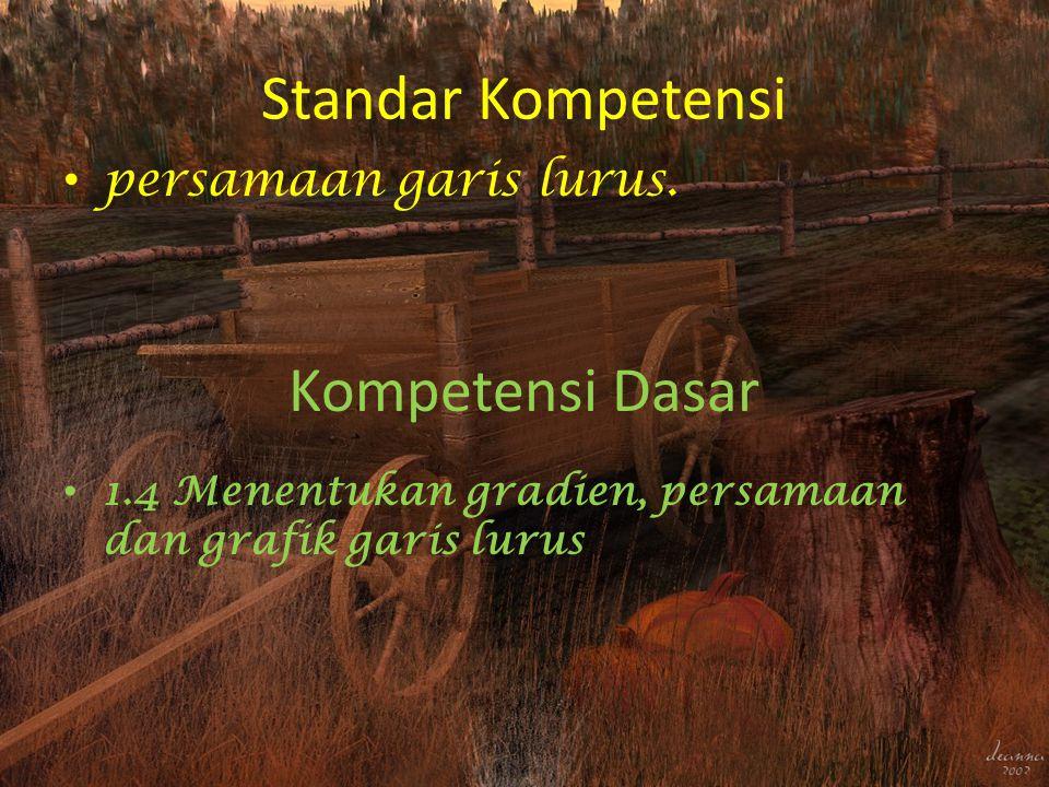 Standar Kompetensi Kompetensi Dasar persamaan garis lurus.