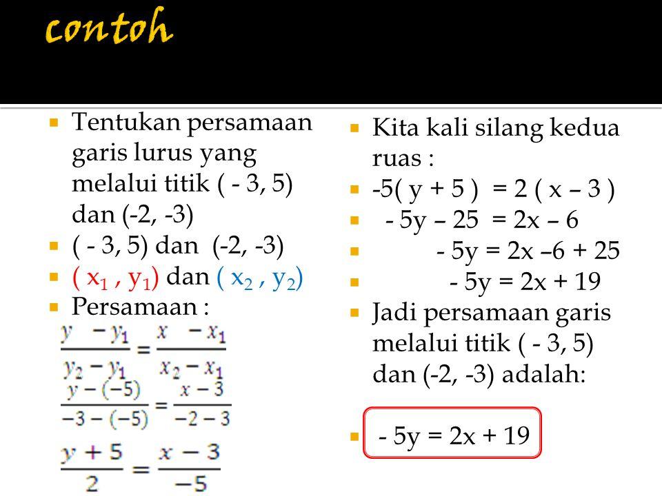 contoh Tentukan persamaan garis lurus yang melalui titik ( - 3, 5) dan (-2, -3) ( - 3, 5) dan (-2, -3)