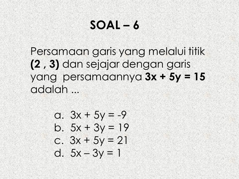 SOAL – 6 Persamaan garis yang melalui titik (2 , 3) dan sejajar dengan garis yang persamaannya 3x + 5y = 15 adalah ...