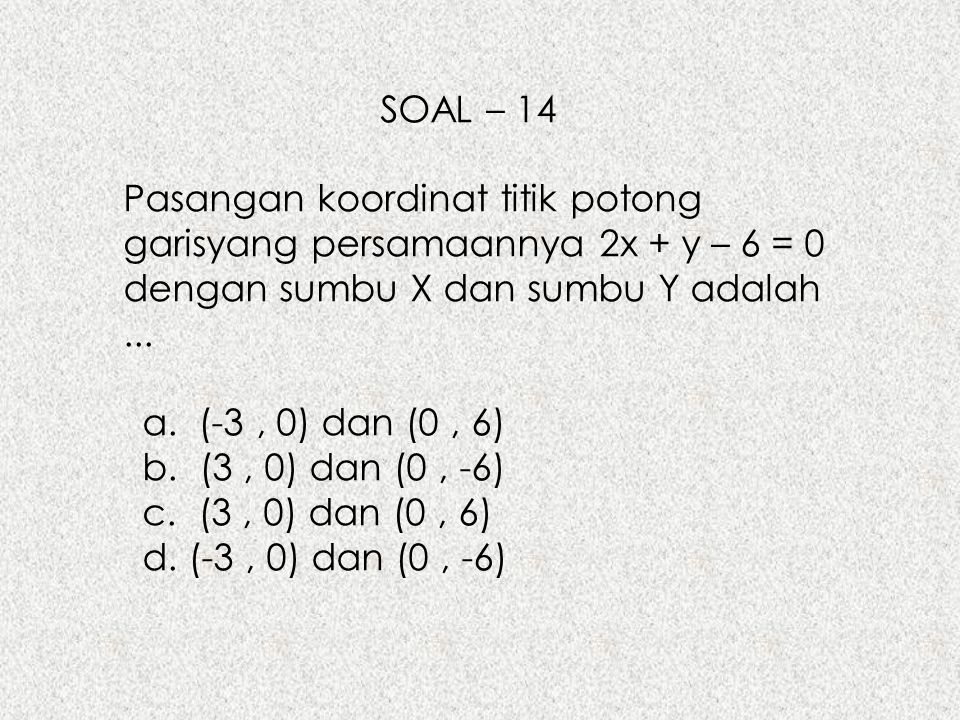 SOAL – 14 Pasangan koordinat titik potong garisyang persamaannya 2x + y – 6 = 0 dengan sumbu X dan sumbu Y adalah ...