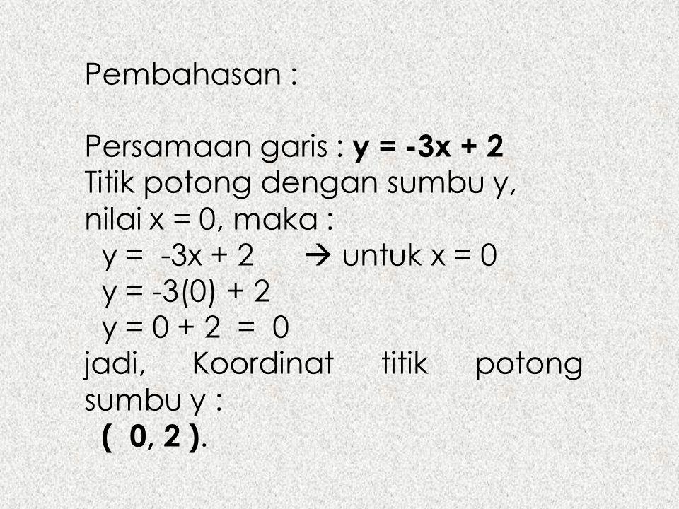 Pembahasan : Persamaan garis : y = -3x + 2. Titik potong dengan sumbu y, nilai x = 0, maka : y = -3x + 2  untuk x = 0.