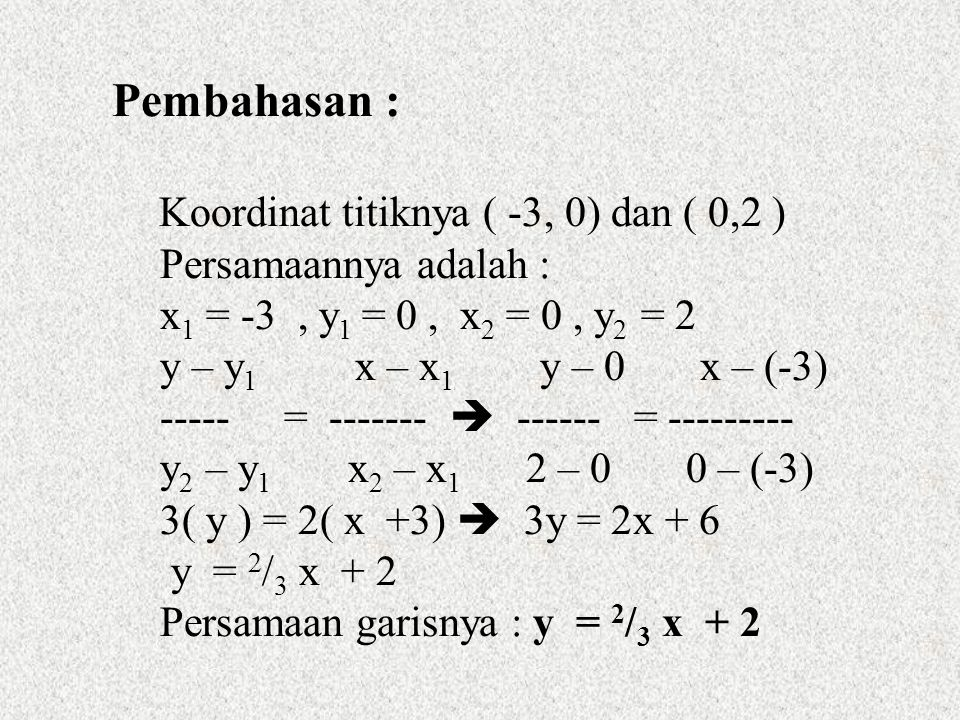 Pembahasan : Persamaannya adalah : x1 = -3 , y1 = 0 , x2 = 0 , y2 = 2