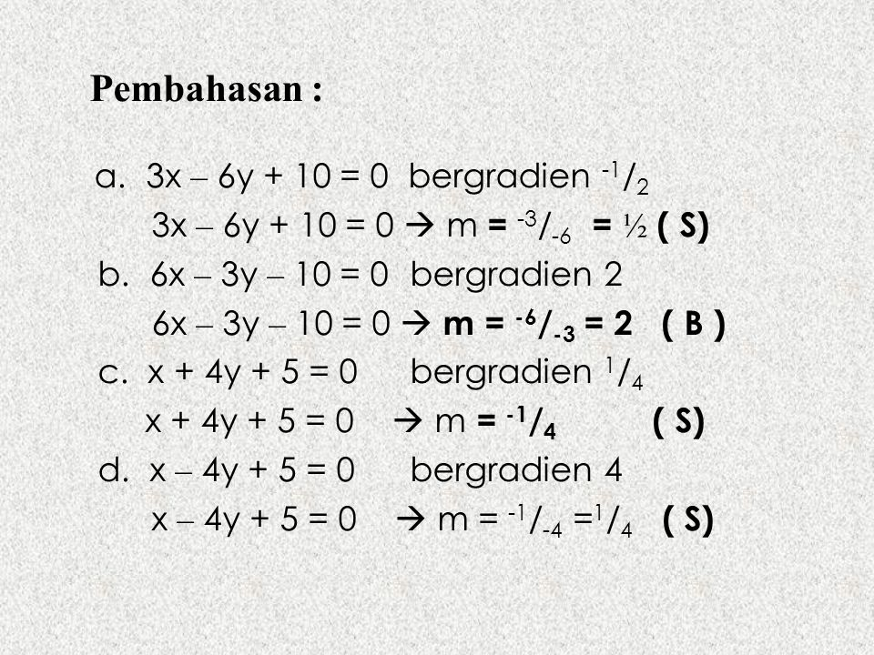 Pembahasan : a. 3x – 6y + 10 = 0 bergradien -1/2