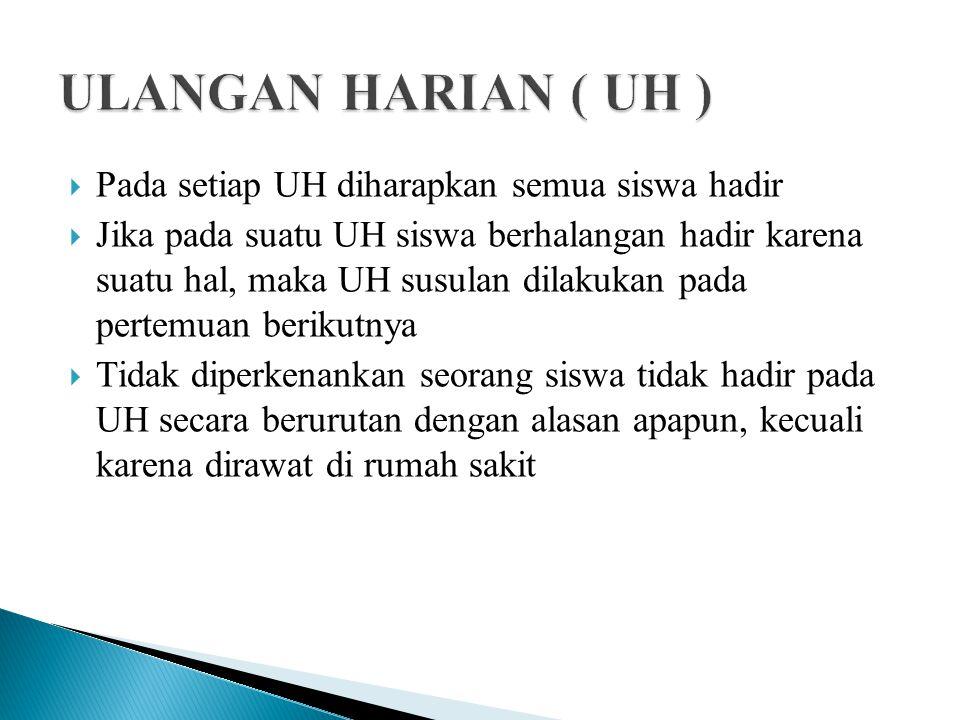 ULANGAN HARIAN ( UH ) Pada setiap UH diharapkan semua siswa hadir