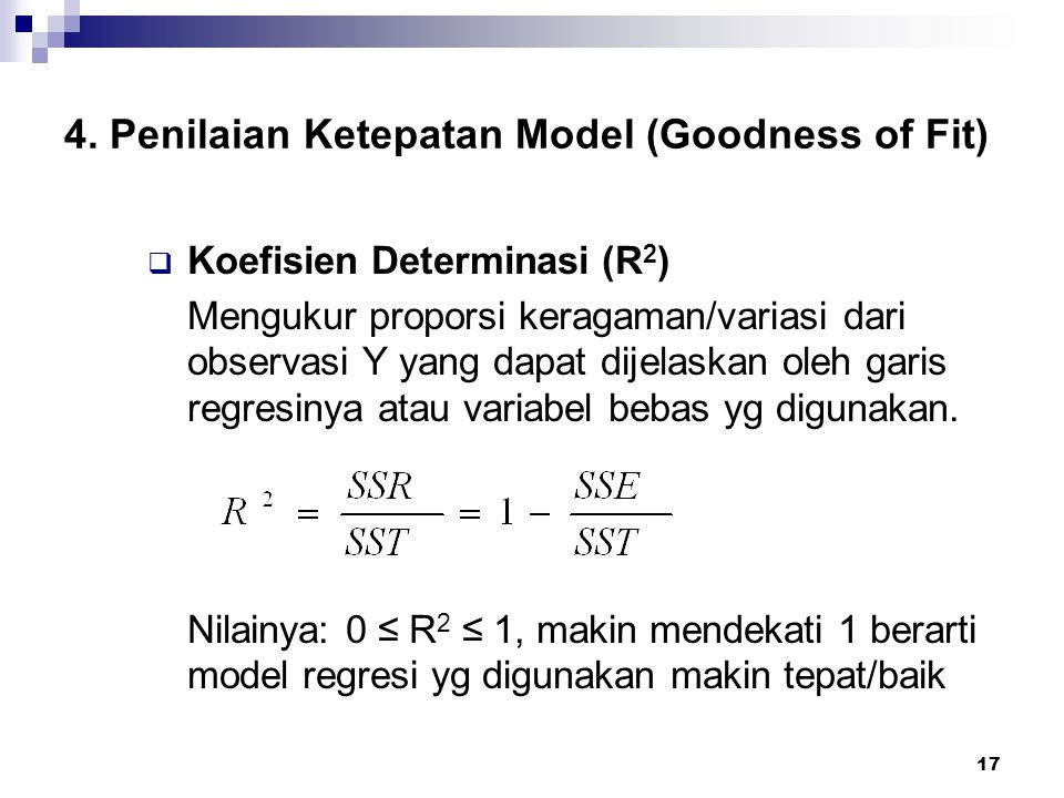 4. Penilaian Ketepatan Model (Goodness of Fit)