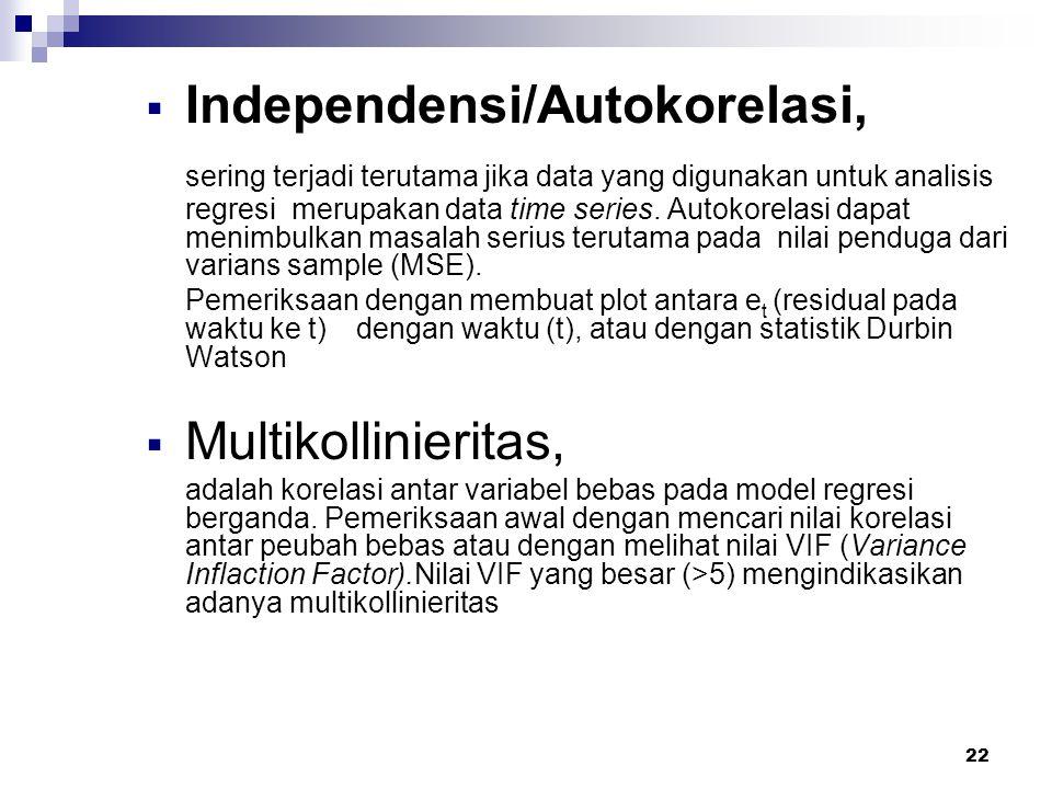 Independensi/Autokorelasi,