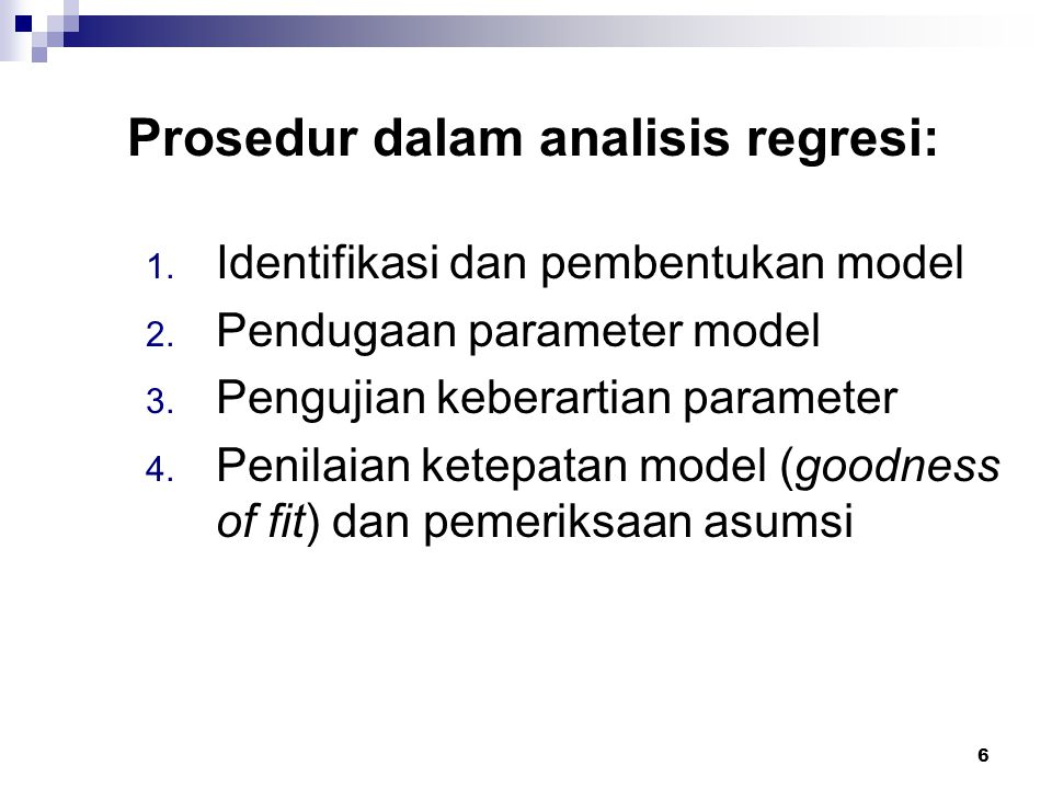 Prosedur dalam analisis regresi: