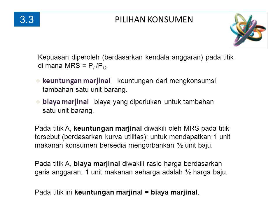 3.3 PILIHAN KONSUMEN. Kepuasan diperoleh (berdasarkan kendala anggaran) pada titik di mana MRS = PF/PC.