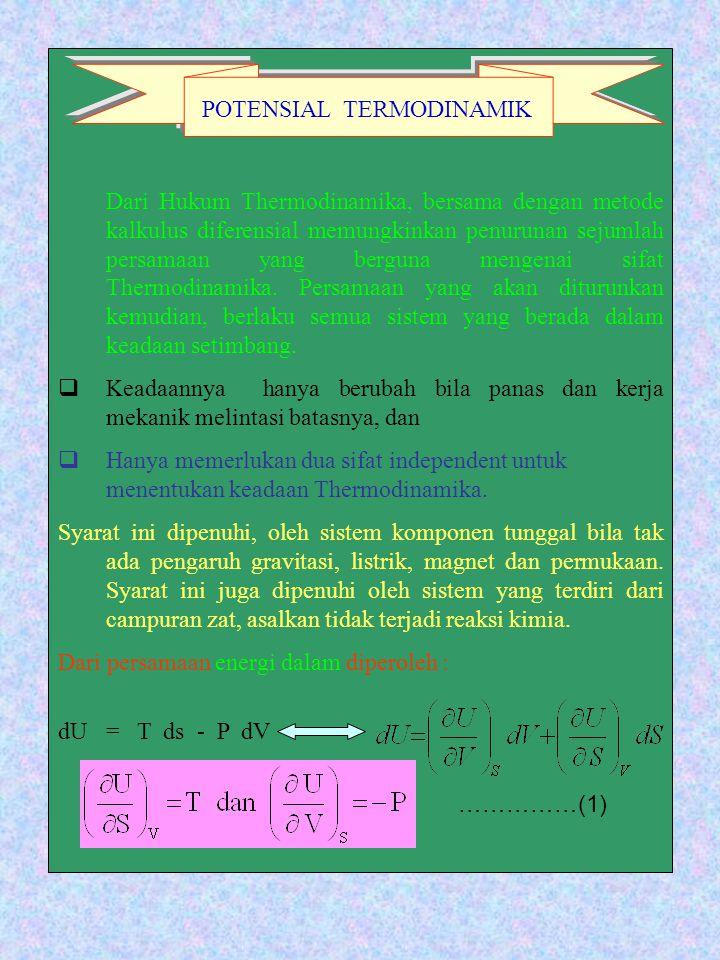 Dari Hukum Thermodinamika, bersama dengan metode kalkulus diferensial memungkinkan penurunan sejumlah persamaan yang berguna mengenai sifat Thermodinamika. Persamaan yang akan diturunkan kemudian, berlaku semua sistem yang berada dalam keadaan setimbang.