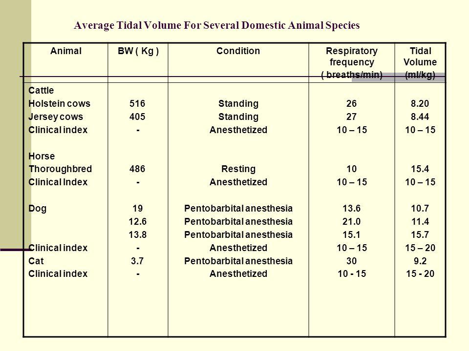 Average Tidal Volume For Several Domestic Animal Species