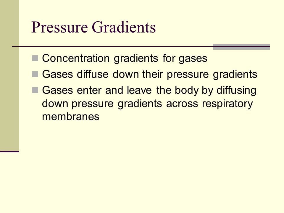 Pressure Gradients Concentration gradients for gases