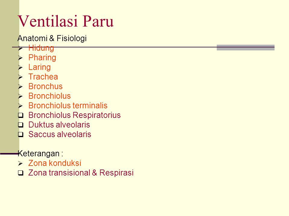 Ventilasi Paru Anatomi & Fisiologi Hidung Pharing Laring Trachea