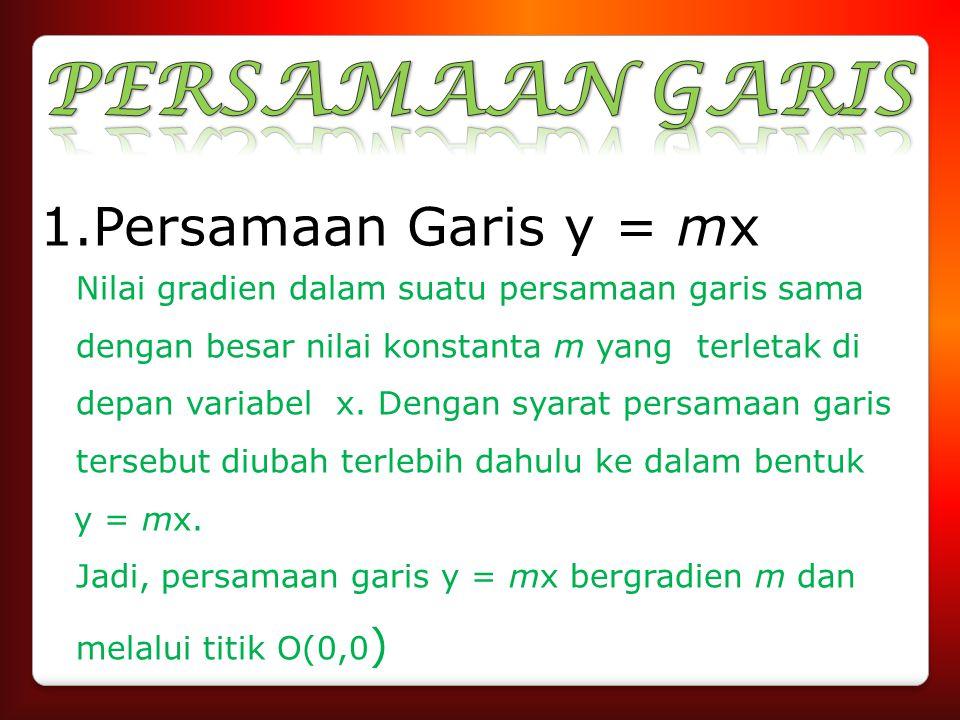 PERSAMAAN GARIS Persamaan Garis y = mx y = mx.