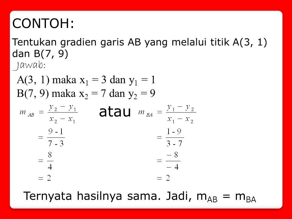 atau CONTOH: Jawab: A(3, 1) maka x1 = 3 dan y1 = 1