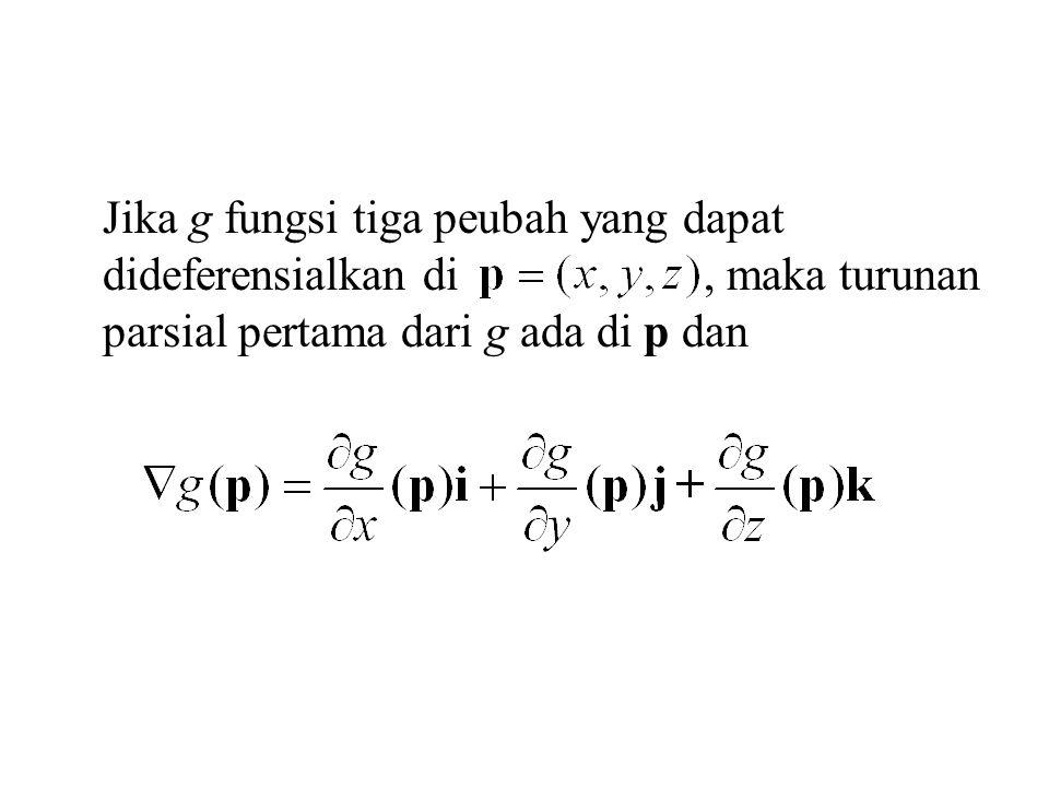 Jika g fungsi tiga peubah yang dapat dideferensialkan di , maka turunan parsial pertama dari g ada di p dan
