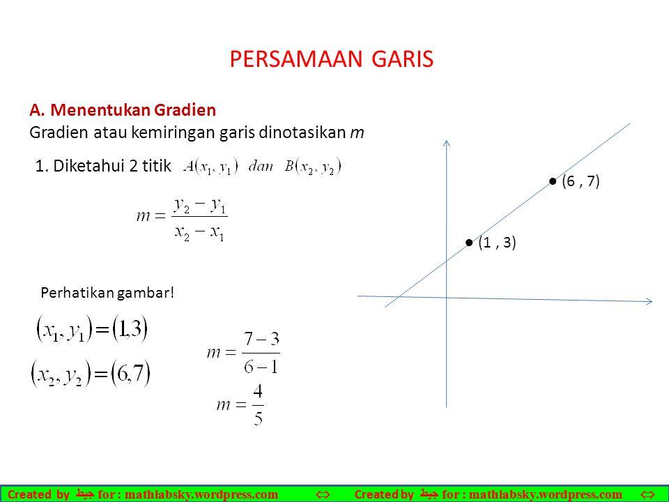PERSAMAAN GARIS A. Menentukan Gradien