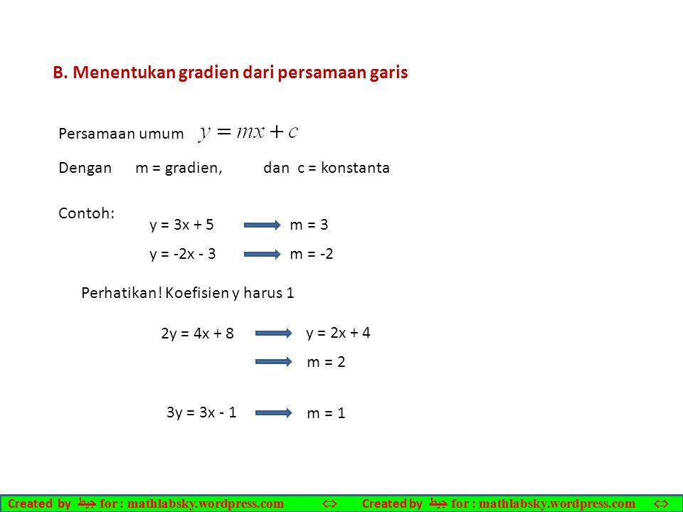 B. Menentukan gradien dari persamaan garis
