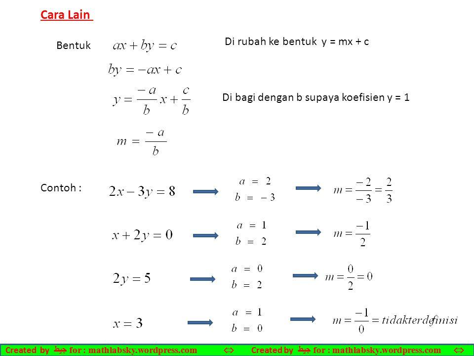 Cara Lain Di rubah ke bentuk y = mx + c Bentuk