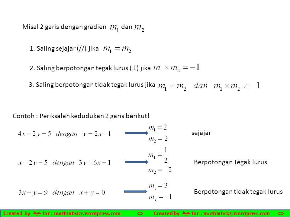 Misal 2 garis dengan gradien dan