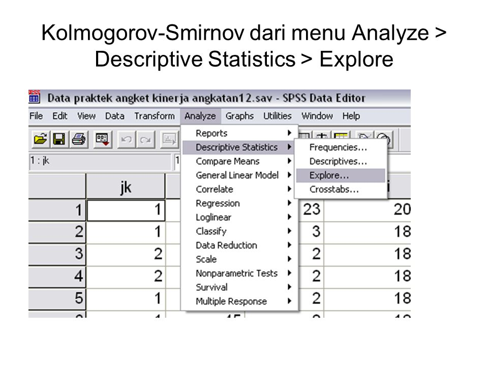 Kolmogorov-Smirnov dari menu Analyze > Descriptive Statistics > Explore