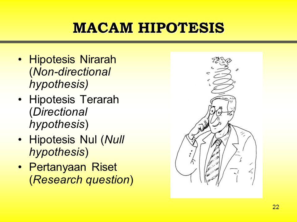 MACAM HIPOTESIS Hipotesis Nirarah (Non-directional hypothesis)