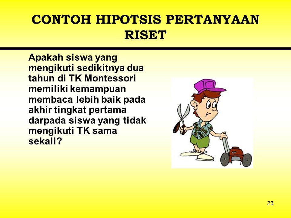CONTOH HIPOTSIS PERTANYAAN RISET