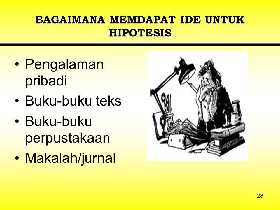 BAGAIMANA MEMDAPAT IDE UNTUK HIPOTESIS