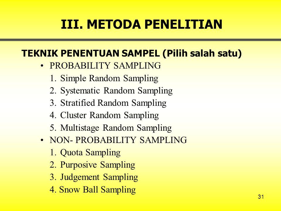 III. METODA PENELITIAN TEKNIK PENENTUAN SAMPEL (Pilih salah satu)