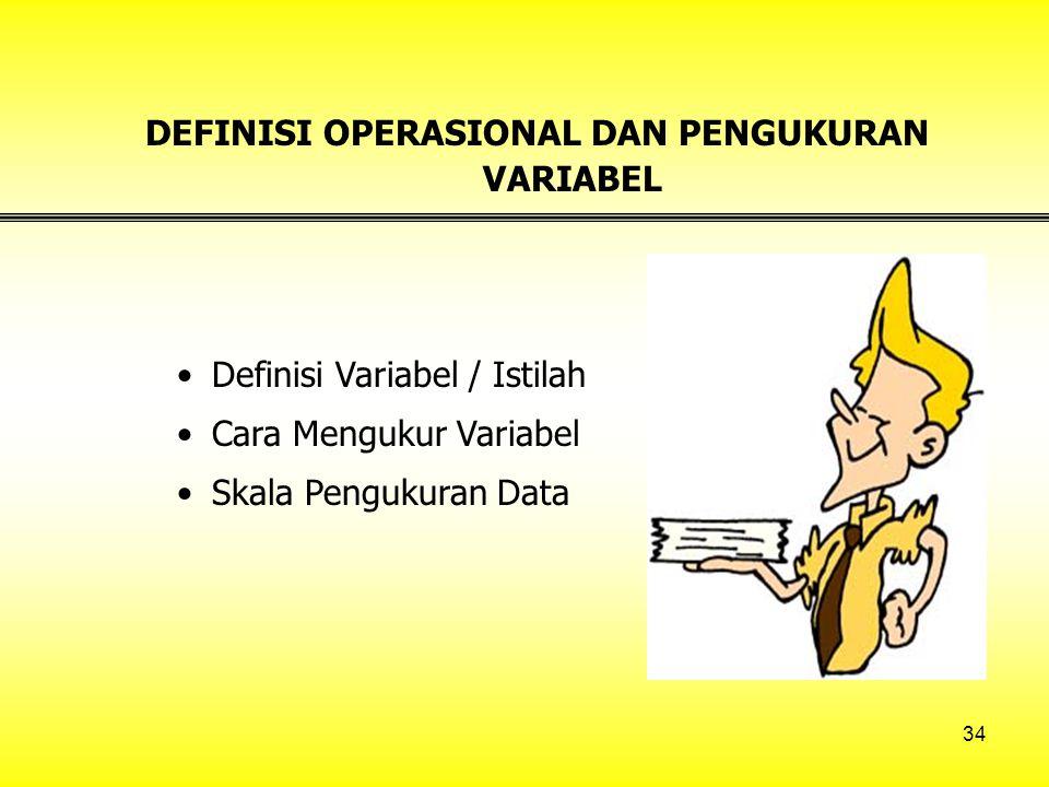 DEFINISI OPERASIONAL DAN PENGUKURAN VARIABEL