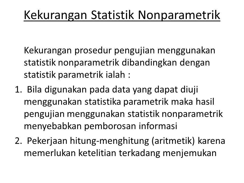 Kekurangan Statistik Nonparametrik